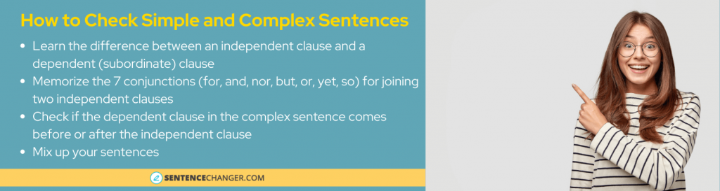 how to change a simple sentence to a compound, complex sentence