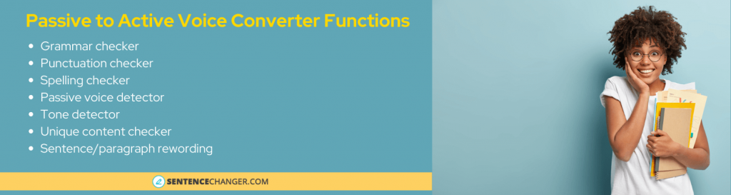 passive to active voice converter functions